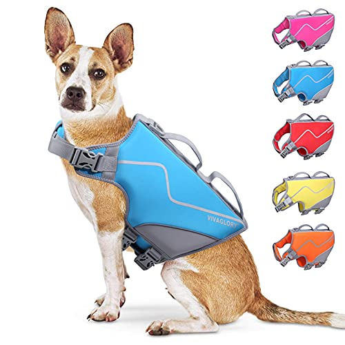 Vivaglory Sports Style Dog Life Jackets, Skin-Friendly Neoprene Life Vest for Small Dogs with...