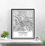 WQHLSH Pittsburgh Map Print Poster Canvas   Pittsburgh City