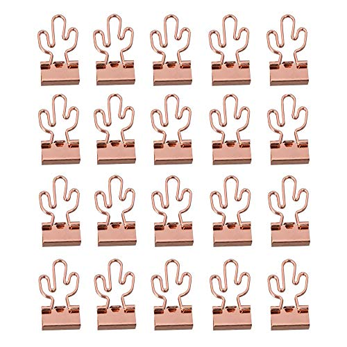 20 Pcs Cactus Binder Paper Wire Clips Gold Swallowtail Clip for Files, Documents, Ticket, Office, School and Home Supplies