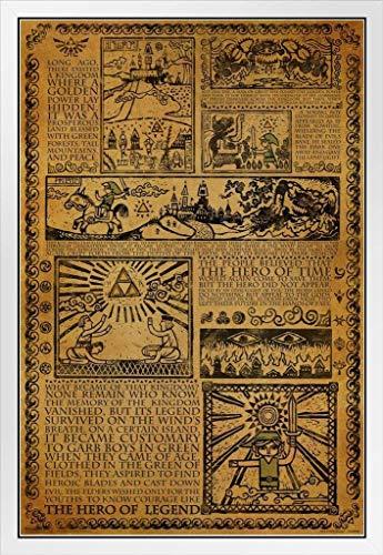 Pyramid America Zelda Story of The Hero Mythology Timeline Video Game Gaming White Wood Framed Poster 14x20
