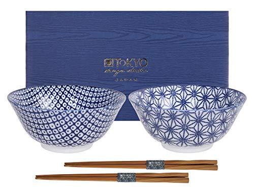 TOKYO design studio Nippon - Cuencos, color azul, porcelana, azul/blanco, 15cm (2er Set III)