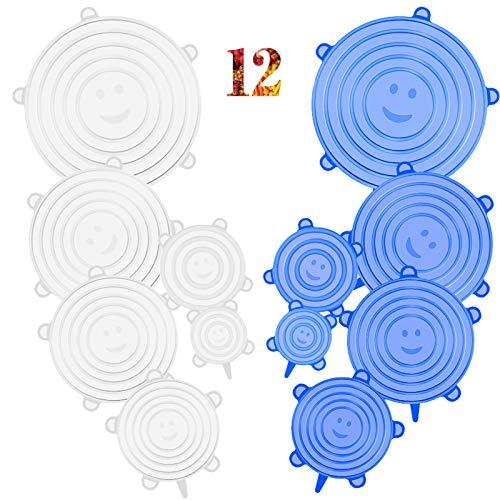 CISHANJIA Coperchi in Silicone Estensibile, 12 Coperchio in Silicone Senza BPA e Riutilizzabili, Ideali per Diversi Contenitori, Piatti, Ciotole, Sicuri in Microonde e Congelatore(Blu Bianco)