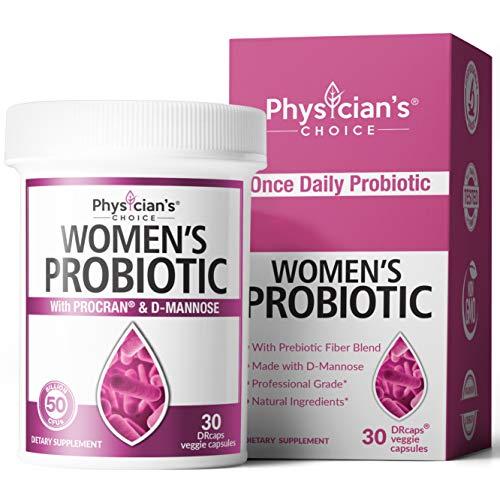 Prebiotics & Probiotics for Women - Clinically Proven ProCran - Organic Prebiotics, 50 Billion CFU, D-Mannose & Cranberry for Digestive, Immune, Feminine Health, Soy & Dairy Free, 30 Vegan Capsules