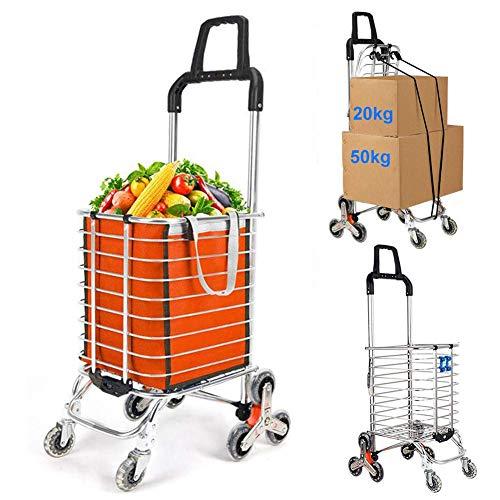 GUOOK Faltbarer Einkaufswagen, Treppensteigender WäSchewagen FüR Lebensmittel Mit Drehbaren RäDern, Kugellager Und Herausnehmbarer Segeltuchtasche - 30 Kg, Orange