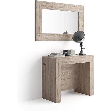 MOBILI FIVER, Table Console Extensible avec rallonges intégrées, Easy, Chêne, Mélaminé/Aluminium, Made in Italy