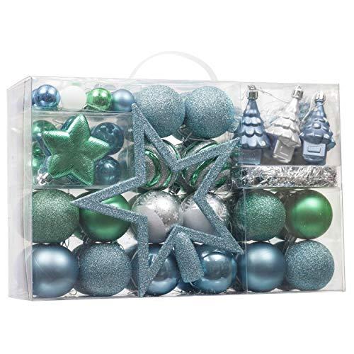 Valery Madelyn Palle di Natale 100 Pezzi di Palline di Natale, 3-5 cm Auguri Invernali Blu Verde e Nastro Infrangibile Ornamenti Palla di Natale Decorazione per Albero di Natale