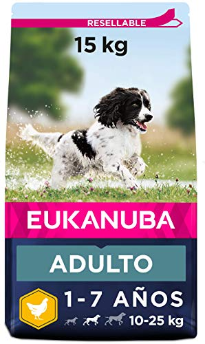Eukanuba Alimento seco para perros adultos activos de raza mediana,, rico en pollo fresco 15 kg