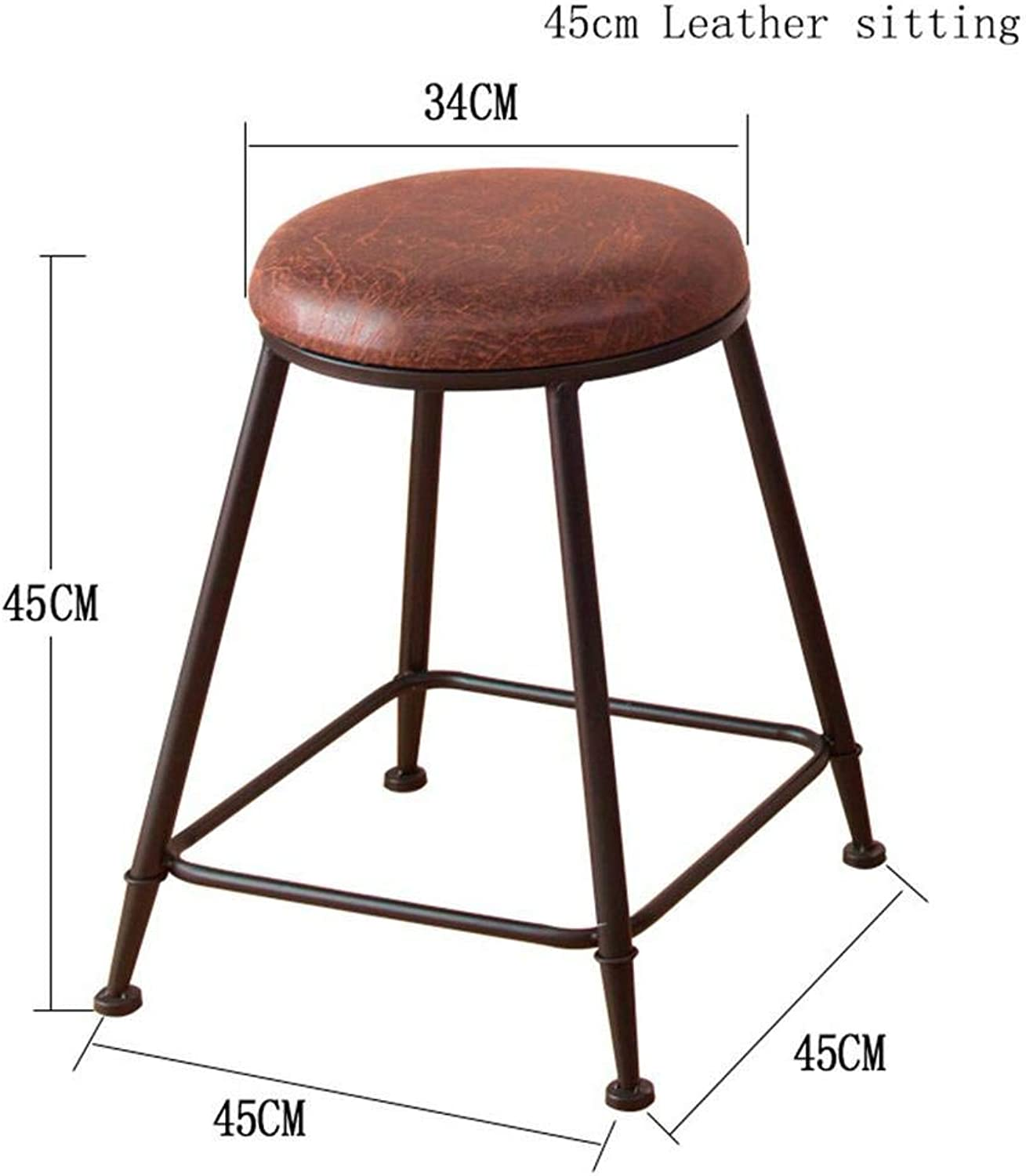 Bar Stool Coffee Chair Retro Kitchen Stools with Metal Legs High Stool Bar Stools Leather Seat Solid Wood Seats Breakfast Bar Chair Dining Chair PU Cushion,45Cm
