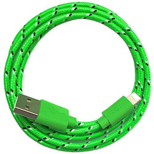Nylon USB 8-Pin oplaadkabel datakabel oplader compatibel met [Apple iPhone XS XR XS Max X 10 8 8Plus 7 7Plus 6S 6SPlus 6 6Plus 5S 5C 5 SE | iPad | iPod] bont 3m groen