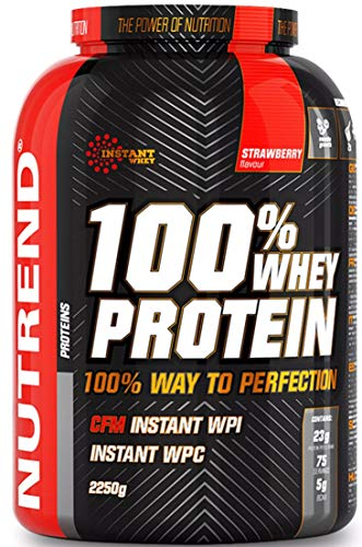 Nutrend 100% Whey Protein Powder Shaker 2250g (2.25kg) Strawberry Flavour 76% Protein Gluten Free Post Workout