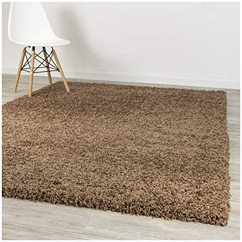 A2Z Rug Pera Shaggy Luxury Super Soft 5 cm Pile Thickness 120 X 170 cm - 3'9'' X 5'6''ft Plain Dark Beige Shag Small Area Rugs