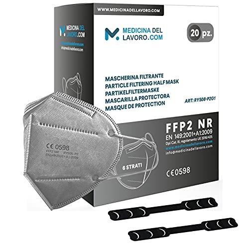 20 FFP2 Maske Bunt Grau CE Zertifiziert, Medizinische Mask mit 6 Lagige Masken ohne Ventil, Staub- und Partikelschutzmaske, Atemschutzmaske mit Hoher BFE-Filtereffizienz≥95 - 20 Stück