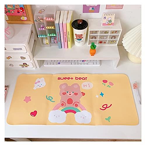 Kawaii Alfombrilla de ratón Grande Cherry Bunny Dibujos Animados Teclado Mate Mesa Mate Estudiantes Jugador Impermeable Escritorio Mousepad Escritorio Ordenador (Color : Rainbow...