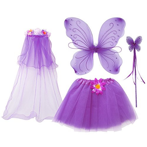 Fedio 4Pcs Girls Princess Fairy Costume Set with Wings, Tutu, Wand and Floral Wreath Veil for Children Ages 3-6 (Purple)