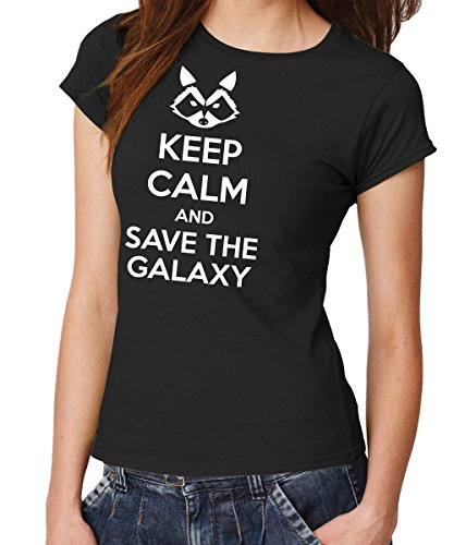 - Keep Calm and Save The Galaxy - Girls T-Shirt Schwarz, Größe M