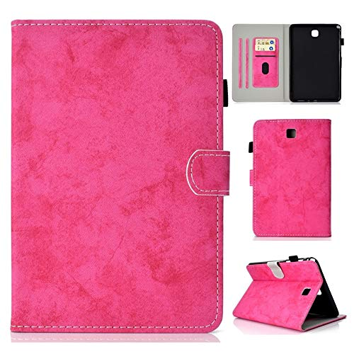 JINXIUCASE Funda de Tableta, Textura de Tela PU Cuero Tableta Soporte Smart Case Cubierta con Auto Sleep Wake para Samsung Galaxy Tab A 8,0 Pulgadas SM-T350 SM-T355C 2015 Release (Color : Rosa)