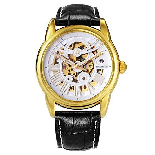 Relojes Classic Men Auto Reloj Mecánico Correa De Cuero Esqueleto Dial Super Golden 3D Número Romano Reloj De Pulsera Mejor Marca @ BK Band Golden White