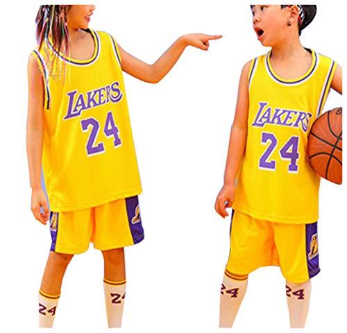 Lakers Bryant # 24 Jersey de Baloncesto, Conjuntos de Pantalones Cortos Deportivos para niños Jerseys Trajes de Verano Conjunto Corto Superior para niños Niño Niñas Ropa Deportiva para bebés-Yell