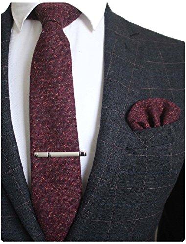 JEMYGINS Retro Wolle Burgund Bordeaux Krawatte und Einstecktuch Krawattenklammer Sets Krawatten für Herren(4)