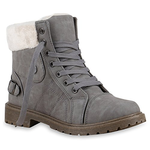stiefelparadies Damen Outdoor Boots Warm gefüttert Schuhe Sneaker Sneakers 127114 Grau 39 Flandell