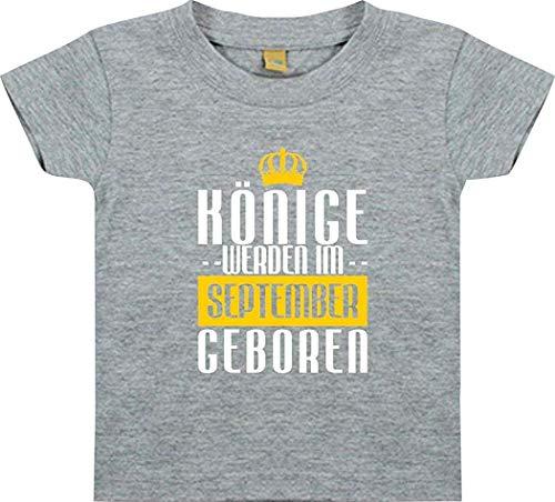 Bébé Kidst-Shirt Rois de Septembre Geboren - Gris, 18-24 Monate