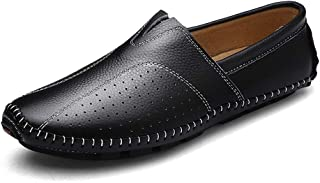 LFSP Mens Penny Loafers Boat Shoes Loafers for Men Light-Weight Slip-on Round Handmade Flats Soft Leather Upper Mesh Flat Stitch Driving Dress Shoes Durable Breathable Elastic A