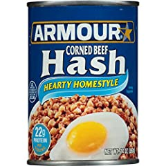 Twelve 14 oz cans of Armour Star Hearty Homestyle Corned Beef Hash Canned Food Canned corned beef hash offers a quick, easy meal with great flavor Canned meat with a delicious blend of diced potatoes and corned beef Heat fully cooked corned beef unti...