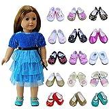 ZITA ELEMENT 5 Paare Puppenschuhe für 43cm 45-46cm American Babypuppen Girl Doll Ebeneschuhe...
