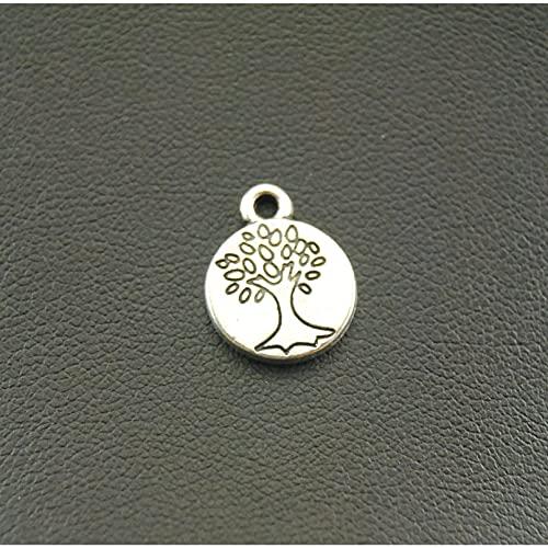 FGHHT Accesorios del Encanto del árbol del Color de la Plata de la aleación del Metal de 10pcs 15x12m m paraHacer
