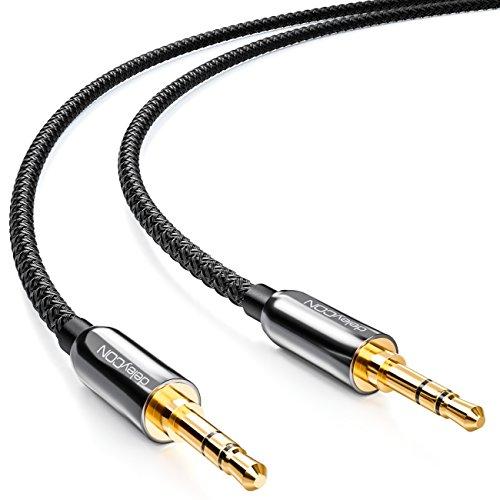 deleyCON 5m Câble Jack avec Gaine en Nylon Audio Stéréo AUX Fiche Jack 3,5mm à Fiche Jack 3,5mm Fiche Plaquée Or - Noir
