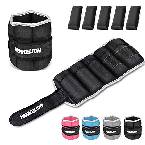 Henkelion 1 Pair 10Lbs Adjustable Ankle Weights for Women Men Kids, Wrist Weights Ankle Weights Sets for Gym, Fitness Workout, Running, Lifting Exercise Leg Weights - Each 5 Lbs Black