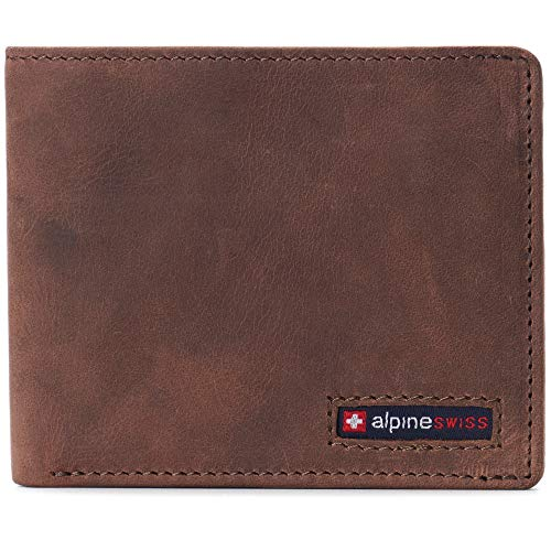Alpine Swiss Mens RFID Blocking Cowhide Leather Wallet Bifold 2 ID Windows Divided Bill Section Comes in Gift Box Distressed Brown