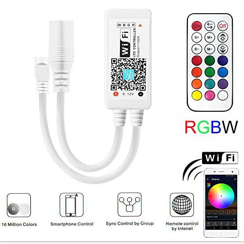 Led Streifen Controller RGBW, RF Led Streifen Kontroller mit Google Assistant/Alexa, Wifi/App gesteuert, Ferngesteuert von Android/IOS, Sound Aktiviert, Dynamische Farbänderung