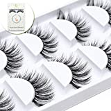 ICYCHEER 5 Pairs Mixed 3D Mink Hair False Eyelashes Full Strips Thick Cross Long Lashes Wispy Fluffy Eye Makeup Tools (047)