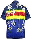 LA LEELA Men's Palm Tree Button Down Short Sleeve Hawaiian Shirt 5XL Navy Blue_W395
