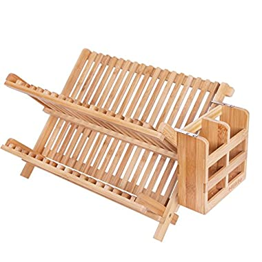 Dish Rack,HBlife Bamboo Folding 2-Tier Collapsible Drainer Dish Drying Rack With Utensils Flatware Holder Set (Dish Rack With Utensil Holder)