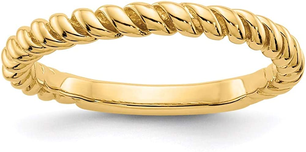 14k Yellow Gold Twisted Wedding Ring Band Size 6.50 Fine Jewelry For Women Gifts For Her