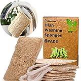 Esponjas de luffa, Esponjas orgánicas naturales para lavar platos Paquete de 6,exfoliante de lufa orgánica Fabricado de lufa egipcia superior/100% orgánico, biodegradable y ecológico