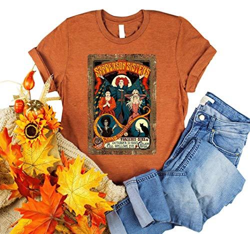 Sanderson Sisters - Camiseta de manga corta para mujer, diseño de Halloween - naranja - Large