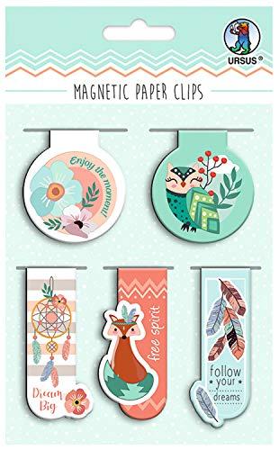 Ursus- Clips magnéticos para libros, cuadernos y álbumes de notas, 5 diseños...
