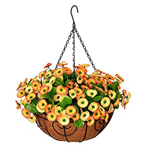 Homsunny Artificial Hanging Flowers in Basket, Silk Flower with 12 inch Flowerpot Centerpieces,Fake Hanging Plants in Coconut Lining Hanging Baskets for Outdoors Indoors Courtyard Decor (Yellow)