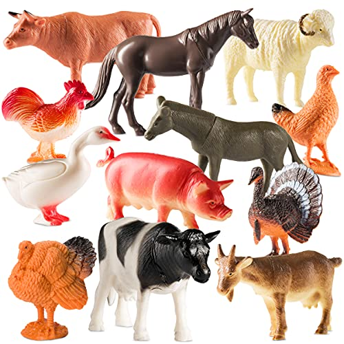 Farm Animal Toys - Pack of 12 - Plastic Farm Animals for Toddlers and Kids, Realistic 3-5 Inch Ranch / Barnyard Animal Toy Figures Styles Include Sheep, Horse, Goat, Duck, Chicken, Turkey, Cow, Pig
