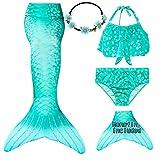 Galldeals cola de sirena con monoaleta disfraz traje de sirena con aleta, 4pcs con bikini traje para niña para nadar