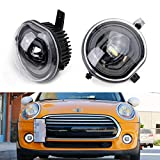 iJDMTOY Xenon White LED 3-In-1 LED Foglamp Kit Compatible With 14/15-up MINI Cooper F54 F55 F56 3rd Gen, Function as Halo Ring Daytime Running Lights, Parking/Clearance Lights & Fog Driving Lights