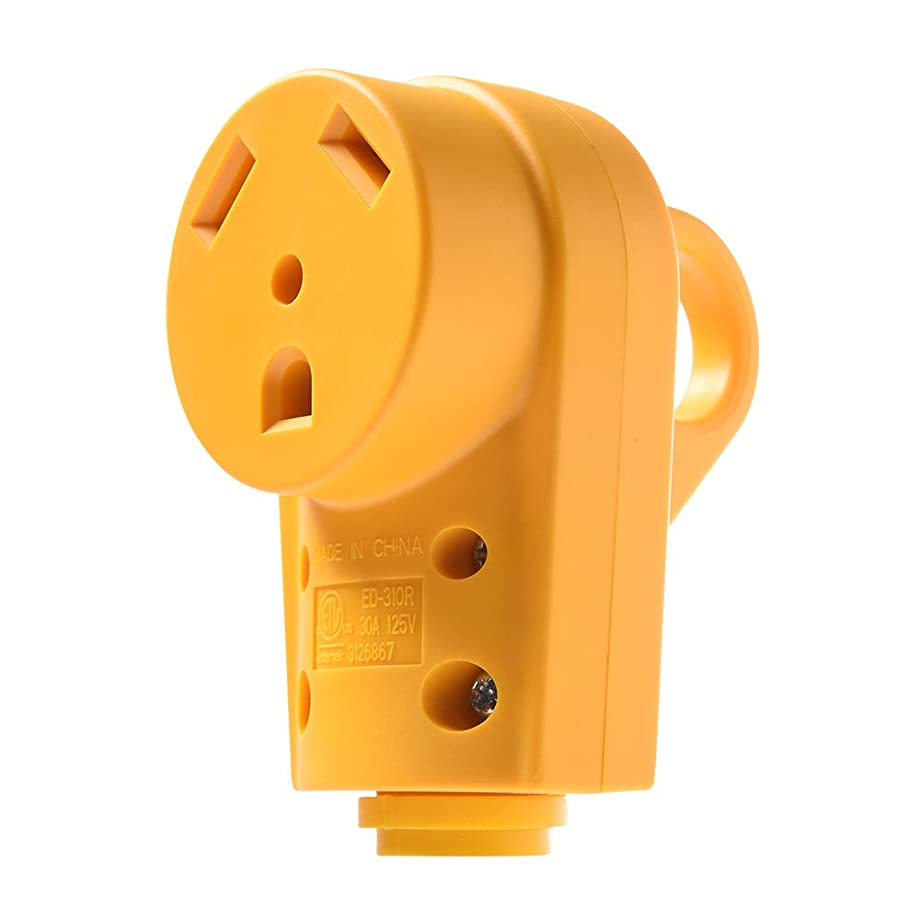 MICTUNING 125V/30Amp Heavy Duty RV Female Replacement Receptacle Plug with Ergonomic Grip Handle, Yellow