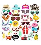 Losuya Kit de accesorios para cabina de fotos hawaiana 42 piezas verano piscina fiesta Luau tropical Tiki playa vacaciones vestir accesorios de disfraz decoración