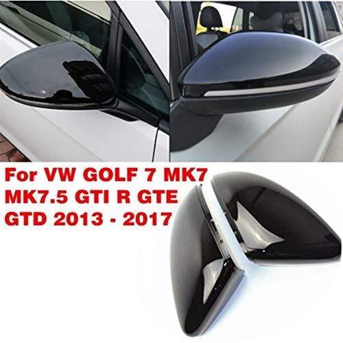 lilili Scheinwerfer Glasabdeckung 1Pair Rearviewspiegelabdeckung Seitenflügel Rückansicht Spiegelabdeckungen Glossy Black Fit for VW Golf 7 MK7 MK7.5 for GTI R GTE GTD