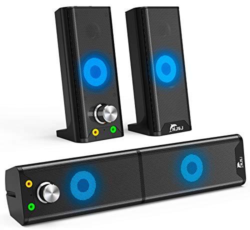 PC Lautsprecher, USB Computer Soundbar 6W trennbare 2.0 Kanal Stereoanlage Mini mit Einstellbarer RGB LED Licht Modi für Laptop Desktop Notebook Smartphone