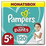 Pampers Baby-Dry Pants, Gr. 5+, 12-17kg, Monatsbox (1 x 120 Höschenwindeln), Einfaches An- und Ausziehen, zuverlässige Pampers Trockenheit