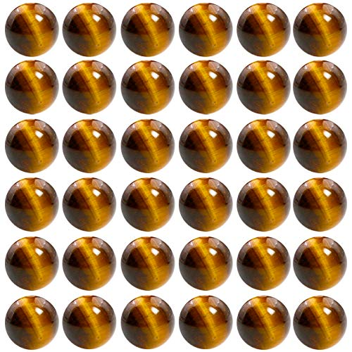Natural Stone Beads 100pcs 10mm Tiger Eye Round Genuine Real Stone Beading Loose Gemstone Hole Size 1mm DIY Smooth Beads for Bracelet Necklace Earrings Jewelry Making (Tiger Eye, 10mm)